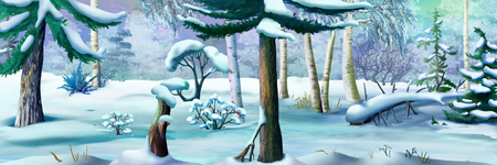 idyll: Winter Forest on a Frosty Day. Panorama View. Handmade illustration in a classic cartoon style.