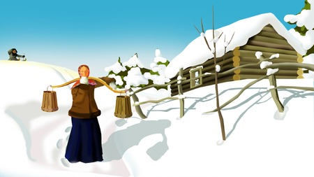 Russian Winter  in a Traditional Village.  A Woman with a Yoke.  Handmade illustration in a classic cartoon style. Stock Photo