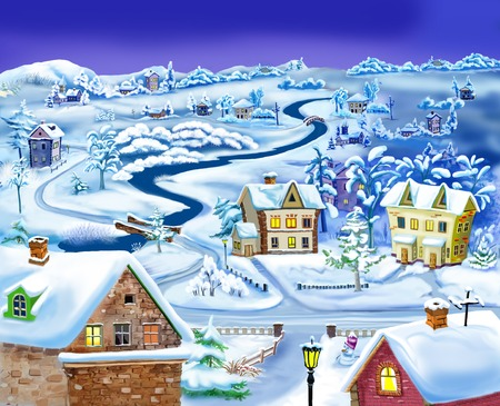 night before christmas: Winter Night in the Suburbs before Christmas.  Handmade illustration in a classic cartoon style.