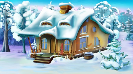 Fairy Tale House in a Winter Forest.  Daytime.  Handmade illustration in a classic cartoon style.