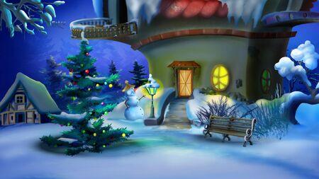 Magic Christmas Night. New Year Eve Scene. Handmade illustration in a classic cartoon style.