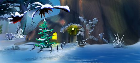 Christmas Tree near a Fairy Tale Gnome House in a Winter Forest . Handmade illustration in a classic cartoon style. Stock Photo