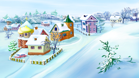 Eastern Europe Traditional Village in Snowy Winter  with small houses and churches. Handmade illustration in a classic cartoon style.