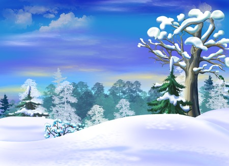 Snowdrifts  in a Winter Forest Clearing. Handmade illustration in a classic cartoon style. Stock Photo