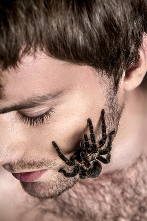 expressionless: Portrait of a Young Handsome Man with Big Spider on His Face Stock Photo