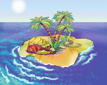 desert island: Desert Island in a Summer day. Digital Painting Background, Illustration in cartoon style character. Stock Photo
