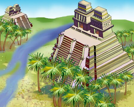 Ancient Mayan Pyramids in a jungle.  Digital Painting Background, Illustration in cartoon style character.