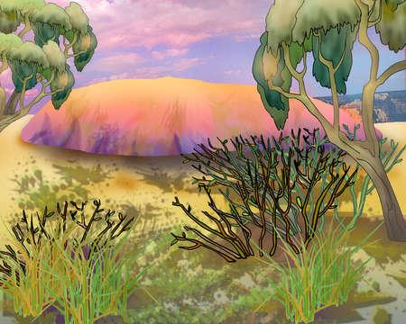 Uluru Kata Tjuta Australian Landmark. Red Mountain. Digital Painting Background, Illustration in cartoon style character.