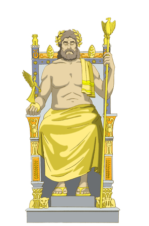 Statue of Zeus (wonders of the world) Isolated on white Background. Digital Painting Background, Illustration in cartoon style character.