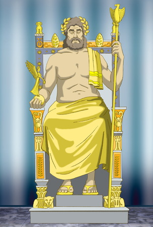 Statue of Zeus. Wonders of the world. Digital Painting Background, Illustration in cartoon style character. Stock Photo
