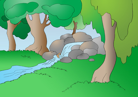 Creek in the Forest in a Summer Day. Digital Painting Background, Illustration in primitive cartoon style character