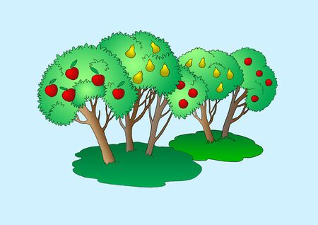 Fruit Trees Illustration. Digital Painting Background, Illustration in primitive cartoon style character. Isolated