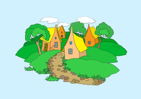 Small Village Illustration. Digital Painting Background, Illustration in primitive cartoon style character. Isolated Stock Photo