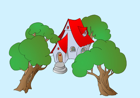 Trees Near a Small Fairy Tale House. Digital Painting Background, Illustration in primitive cartoon style character. Isolated Stock Photo