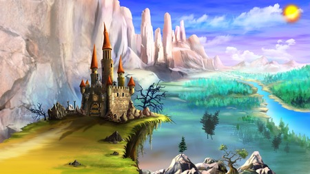 Magical Fairy Tale Castle Surrounded by Mountains above the River in a Summer Day. Digital Painting Background, Illustration in cartoon style character. Stock Photo