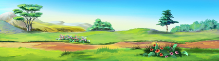 Rural Landscape with a Path against the Blue Sky in a Summertime. Digital Painting Background, Illustration in cartoon style character. Stockfoto