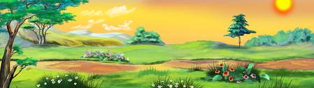 夏の青空に黄色のパスと田園風景。デジタル絵画の背景、スタイルの漫画のキャラクターのイラストです。