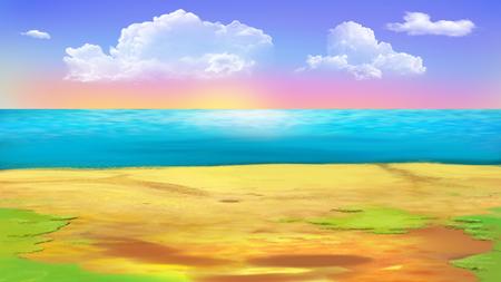 海、熱帯の島の海岸の海岸。デジタル絵画の背景、スタイルの漫画のキャラクターのイラストです。
