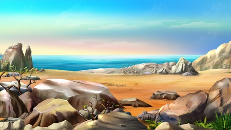 Rocky Shore Against Blue Sky in a Summer Day. Digital Painting Background, Illustration in cartoon style character. Stock Photo