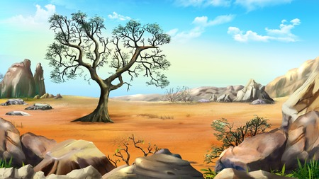 Rural Landscape with a Lonely Tree in the Hills in a Summer day. Digital Painting Background, Illustration in cartoon style character. Stock Photo