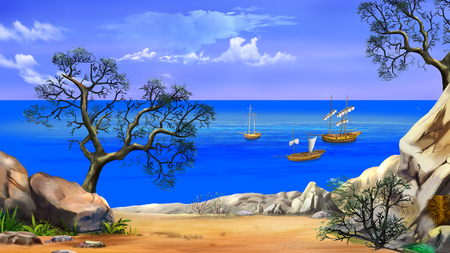 View of the bay with sailboats. Shore of the ocean, coast of desert island. Digital Painting Background, Illustration in cartoon style character.