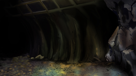 Entrance to an abandoned mine or to a large Cave. Digital Painting Background, Illustration in cartoon style character.