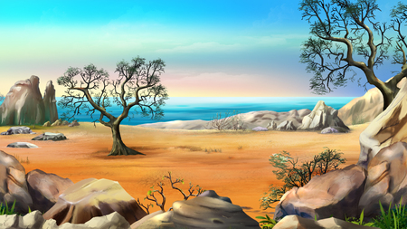Rocky Shore with Lonely Tree Against Blue Sky in a Summer Day. Digital Painting Background, Illustration in cartoon style character.
