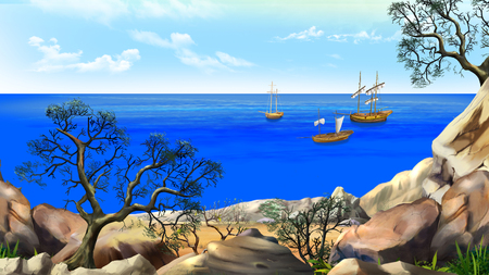 View of the bay with sailboats. Shore of the ocean, coast of desert island. Summer day, blue sky. Digital Painting Background, Illustration in cartoon style character. Stock Photo