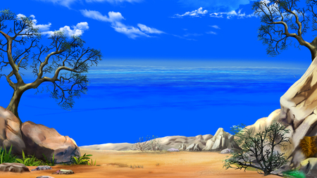 Sea View from the Cliff in a Summer day against the Deep Blue Sky. Digital Painting Background, Illustration in cartoon style character.