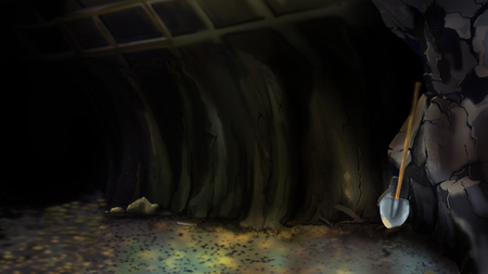 Entrance to an abandoned mine or to a large Cave with Shovel. Digital Painting Background, Illustration in cartoon style character. Stock Photo