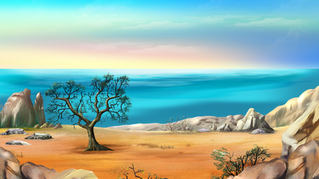 Rocky Shore with Lonely Tree Against Blue Sky in a Early Summer Morning. Digital Painting Background, Illustration in cartoon style character.