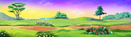 Rural landscape with path and flowers against purple sky in a Summer day. Digital Painting Background, Illustration in cartoon style character. Stock Photo