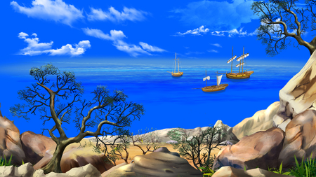View of the bay with sailboats. Shore of the ocean, coast of desert island. Summer day, blue sky. Lonely tree. Digital Painting Background, Illustration in cartoon style character. Stock Photo