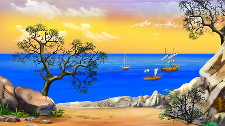 Idyllic View of the bay with sailboats. Shore of the ocean, coast of desert island. Summer day, yellow  sky. Digital Painting Background, Illustration in cartoon style character.