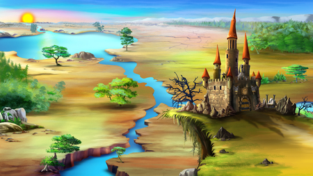 Magical fairy tale castle on a rock above the blue river in a summer morning. Digital painting background, Illustration in cartoon style character. Stock Photo