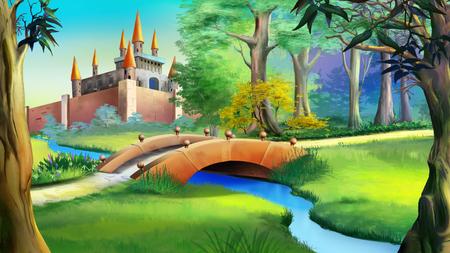 青い川に架かる童話城の森と小さな橋のある風景します。デジタル絵画の背景、スタイルの漫画のキャラクターのイラスト。