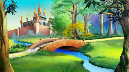 Landscape with Fairy tale castle in a forest and small bridge over the blue river. Digital painting background, Illustration in cartoon style character. Stock Photo