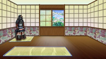 Traditional Japanese Room Interior. Digital Painting Background, Illustration in cartoon style character.