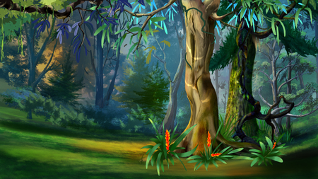 Big Trees in a Forest in a Summer Day. Digital Painting Background, Illustration in cartoon style character. Archivio Fotografico