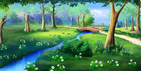 小川に架かる小さな橋ののどかな景色。茂みや公共の公園で水の近くの花。デジタル絵画の背景、スタイルの漫画のキャラクターのイラストです。