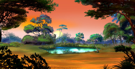 Idyllic View of the Small Pond on a Forest Glade Surrounded by Trees at Dawn. Digital Painting Background, Illustration in cartoon style character. Stock Photo