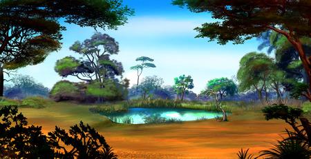 日当たりの良い夏の日に木々 に囲まれた森の空き地に小さな池ののどかな景色。デジタル絵画の背景、スタイルの漫画のキャラクターのイラストで 写真素材