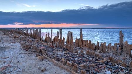 Sunset on the dead lake Kujalnik in Ukraine Stock Photo