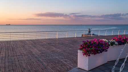 Summer Morning by the Sea in Odessa city Ukraine