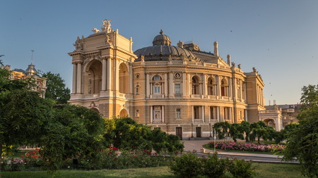 Odessa National Opera and Ballet Theater in a summer morning Editorial