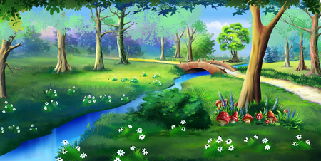 Fairy Tale Amanita Mushrooms in a Forest Glade in a Summer Day. Idyllic View of the Small Bridge Over the Creek. Digital painting background, Illustration in cartoon style character.