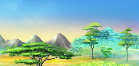 Panorama of African Savannah in a Hot Summer Day. Acacia Tree in a Mountains. Digital Painting Background, Illustration in cartoon style character. Stock Photo
