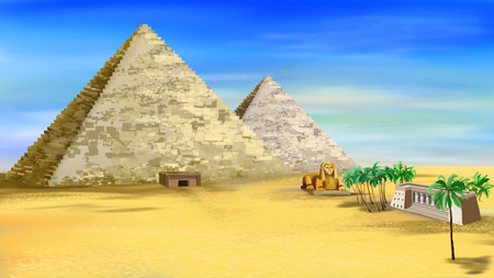 The Egyptian pyramids with entrance and ancient castle. Digital painting background, Illustration in cartoon style character. Stock Photo