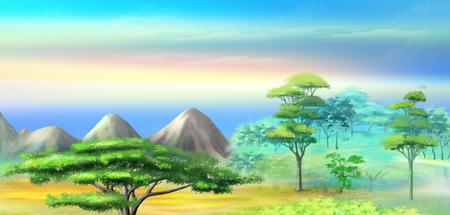 Panorama of African Savannah in a Hot Summer morning. Acacia Tree in a Mountains at sunrise. Digital Painting Background, Illustration in cartoon style character.
