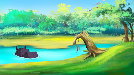 Big African Hippopotamus in a river on a sunny summer day. Digital painting  cartoon style full color illustration.